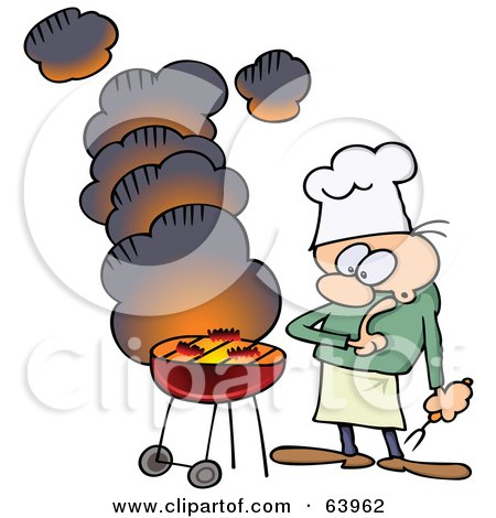 Royalty-Free (RF) Clipart Illustration of a Nervous Man Watching Meat Cook On A Smoking Bbq Grill by gnurf