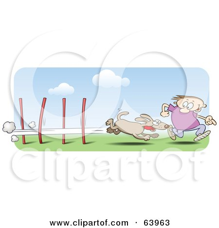 Royalty-Free (RF) Clipart Illustration of a Man Running Alongside His Dog In An Agility Course by gnurf