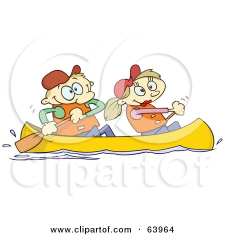 Royalty-Free (RF) Clipart Illustration of a Happy Couple Canoeing by gnurf