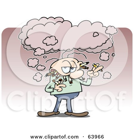 Royalty-Free (RF) Clipart Illustration of a Gross Man Smoking Multiple Cigarettes And Cigars by gnurf