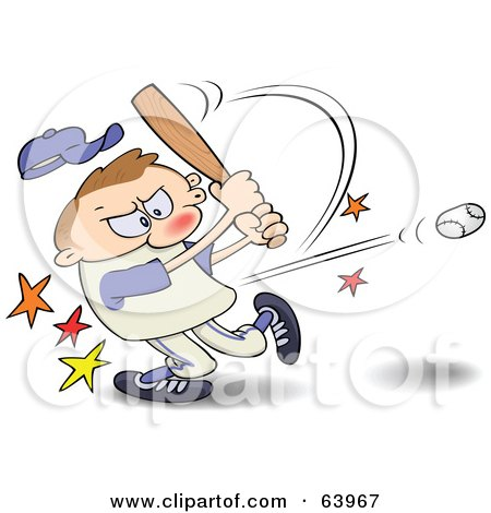Royalty-Free (RF) Clipart Illustration of a Focused Athlete Hitting A Baseball With A Bat by gnurf