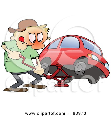 Royalty-Free (RF) Clipart Illustration of a Flustered Man Jacking Up His Red Car To Change A Flat Tire by gnurf