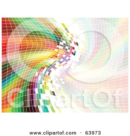 Royalty-Free (RF) Clipart Illustration of a Curving Rainbow Mosaic Background With A Pastel Side by KJ Pargeter