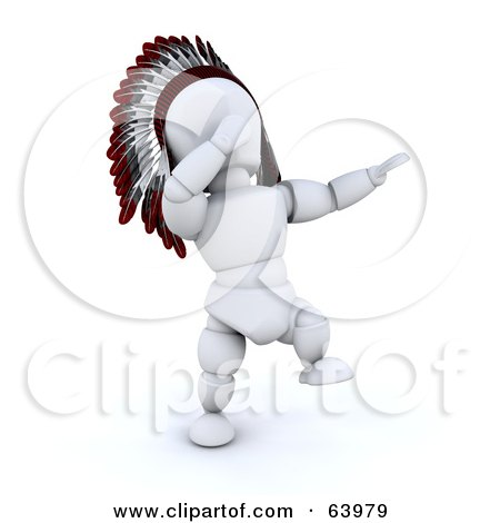 Royalty-Free (RF) Clipart Illustration of a 3d White Character Native American Singing And Dancing At A Pow Wow by KJ Pargeter