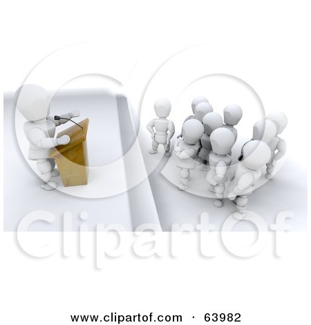 Royalty-Free (RF) Clipart Illustration of a 3d White Character Giving A Speech To Patient Listeners by KJ Pargeter