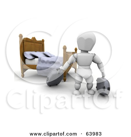 Royalty-Free (RF) Clipart Illustration of a 3d White Character Traveler Moving Luggage In A Hotel Room by KJ Pargeter