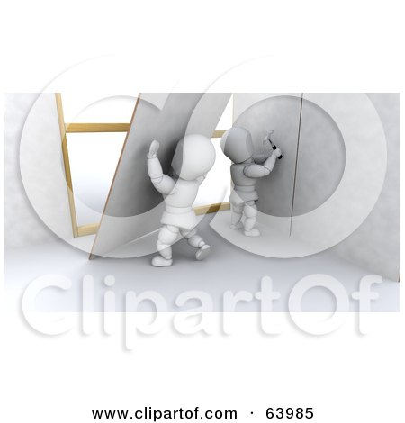 Royalty-Free (RF) Clipart Illustration of 3d White Characters Setting Up New Drywall by KJ Pargeter