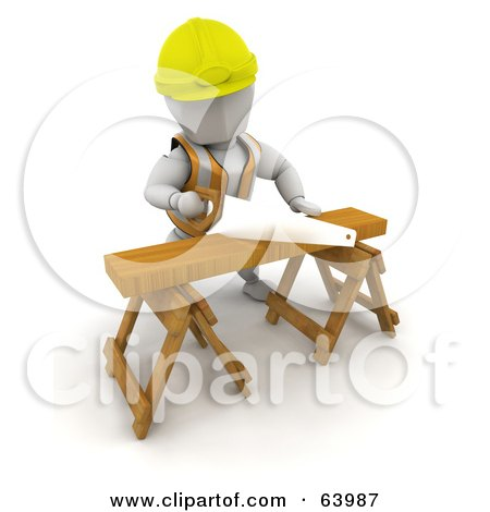 Royalty-Free (RF) Clipart Illustration of a 3d White Character Wearing A Vest And Hardhat And Sawing Wood On A Saw Horse by KJ Pargeter