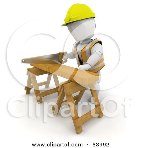 Royalty-Free (RF) Clipart Illustration of a 3d White Character Wearing A Hardhat And Sawing Wood On A Saw Horse by KJ Pargeter
