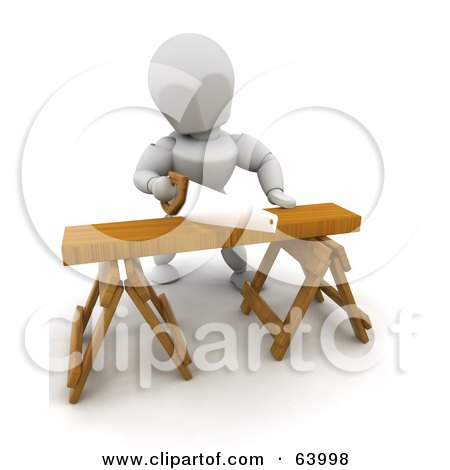 Royalty-Free (RF) Clipart Illustration of a 3d White Character Sawing Wood On A Saw Horse by KJ Pargeter
