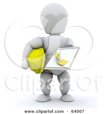 Royalty-Free (RF) Clipart Illustration of a 3d White Character Contractor Holding A Clipboard by KJ Pargeter