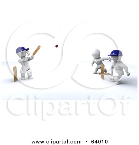 Royalty-Free (RF) Clipart Illustration of 3d White Characters Playing A Game Of Cricket - Version 2 by KJ Pargeter