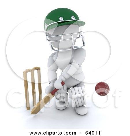 Royalty-Free (RF) Clipart Illustration of a 3d White Character Cricketer - Version 4 by KJ Pargeter