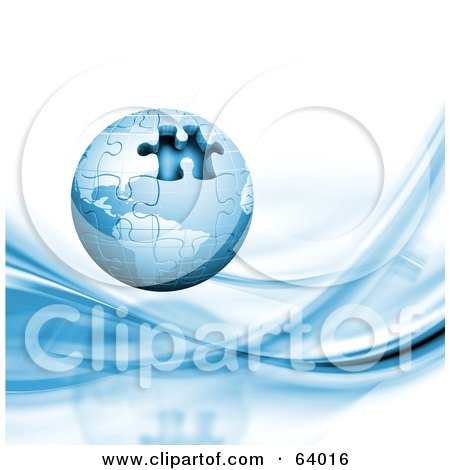 Royalty-Free (RF) Clipart Illustration of a Blue 3d Globe Puzzle With One Missing Piece Over A White Background With Blue Waves by KJ Pargeter