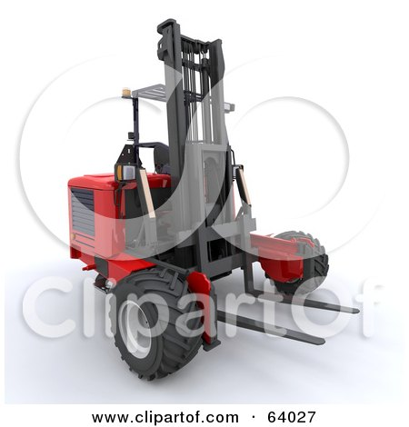 Royalty-Free (RF) Clipart Illustration of a 3d Red Industrial Forklift by KJ Pargeter