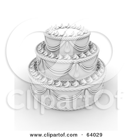 Royalty-Free (RF) Clipart Illustration of an Elegant White Three Tiered Wedding Cake With Elaborate Icing by KJ Pargeter