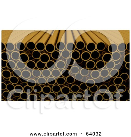 Royalty-Free (RF) Clipart Illustration of a Straight Angle View Of Copper Pipes by KJ Pargeter