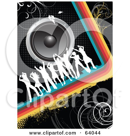 Royalty-Free (RF) Clipart Illustration of White Silhouetted Dancers On A Rainbow Curve Under Speakers On A Black Background by KJ Pargeter