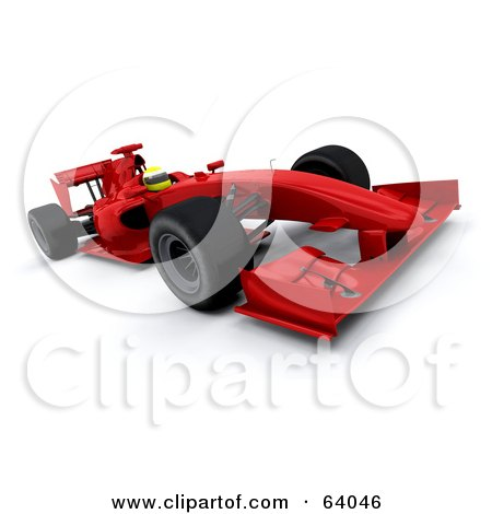 Royalty-Free (RF) Clipart Illustration of a 3d Red F1 Race Car - Angle 1 by KJ Pargeter