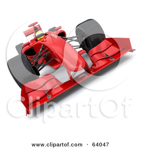 Royalty-Free (RF) Clipart Illustration of a 3d Red F1 Race Car - Angle 2 by KJ Pargeter