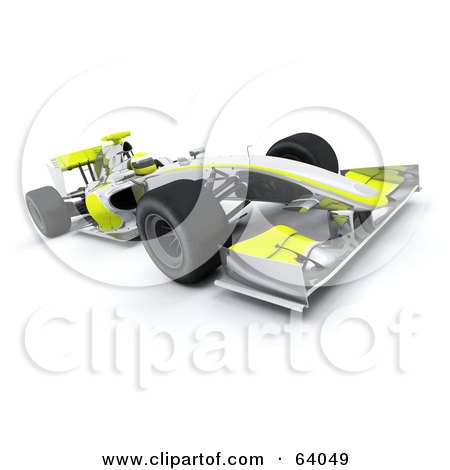 Royalty-Free (RF) Clipart Illustration of a 3d Chrome And Yellow F1 Race Car by KJ Pargeter