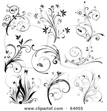 Royalty-Free (RF) Clipart Illustration of a Digital Collage Of Nine Black And White Floral Scroll Design Elements, On White by KJ Pargeter