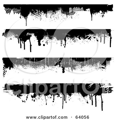 Royalty-Free (RF) Clipart Illustration of a Digital Collage Of Four Black Grungy Dripping Borders On White by KJ Pargeter