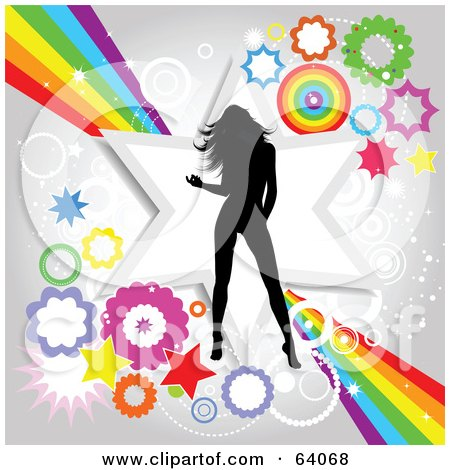 Royalty-Free (RF) Clipart Illustration of a Black Silhouetted Female Dancer Over A Funky Rainbow, Star And Burst Background by KJ Pargeter