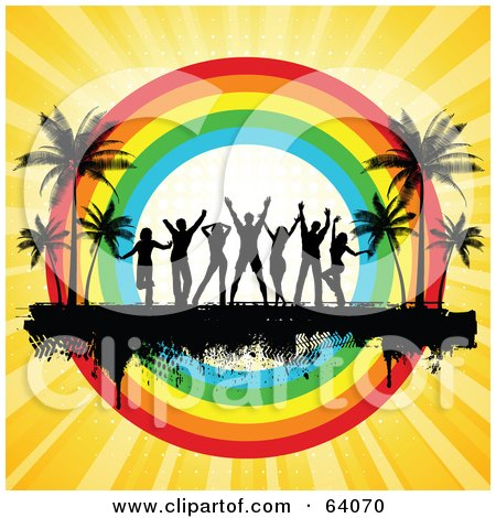 Royalty-Free (RF) Clipart Illustration of a Silhouetted Dancers On A Black Grunge Bar Between Palm Trees, In Front Of A Rainbow Circle On A Bursting Yellow Background by KJ Pargeter
