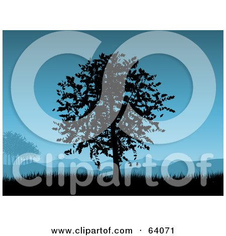 Royalty-Free (RF) Clipart Illustration of a Tree Silhouetted In Black Against A Blue Sky With Hills And Grass by KJ Pargeter