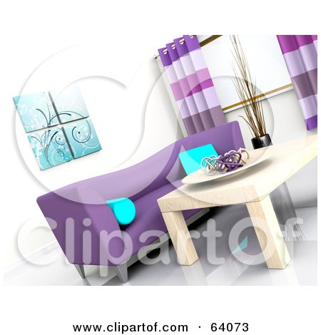 Royalty-Free (RF) Clipart Illustration of a Tilted Angle Of A 3d Modern Living Room Interior With A Purple Sofa And Light Wood Table by KJ Pargeter