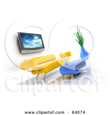 Royalty-Free (RF) Clipart Illustration of a 3d Plasma Tv On A Wall Over A Yellow Modern Sofa With A Coffee Table. by KJ Pargeter