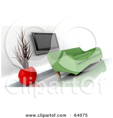 Royalty-Free (RF) Clipart Illustration of a Green 3d Modern Sofa Under A Plasma Tv In A Modern Living Room by KJ Pargeter