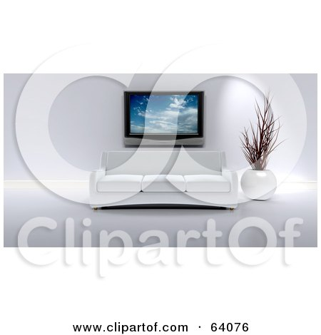 Royalty-Free (RF) Clipart Illustration of a 3d Plasma Tv Above A White Modern Couch And Vase In A Living Room by KJ Pargeter