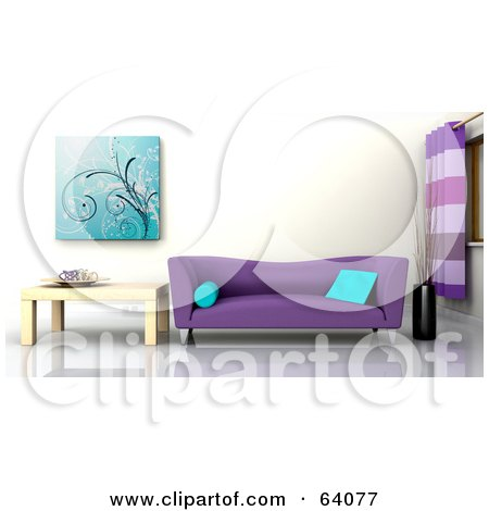 Royalty-Free (RF) Clipart Illustration of a 3d Interior With A Purple Sofa And Light Wood End Table by KJ Pargeter