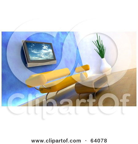 Royalty-Free (RF) Clipart Illustration of a 3d Plasma Tv On A Blue Wall Over An Orange Modern Sofa With A Coffee Table. by KJ Pargeter
