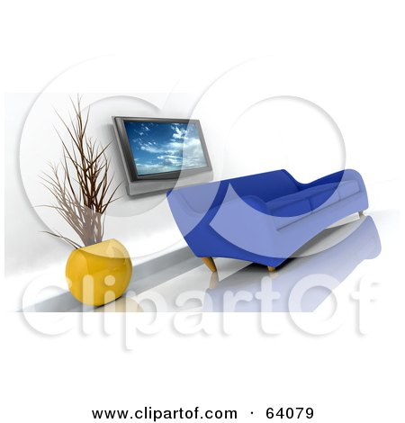 Royalty-Free (RF) Clipart Illustration of a Blue 3d Modern Sofa Under A Plasma Tv In A Modern Living Room by KJ Pargeter