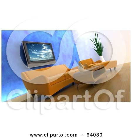 Modern Living Room With Wood Floors, Orange Furniture, A Blue Wall And A Plasma Tv Posters, Art Prints