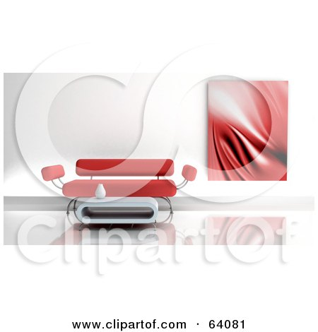 Royalty-Free (RF) Clipart Illustration of a Red Piece Of Art Near A Modern Sofa And Coffee Table by KJ Pargeter