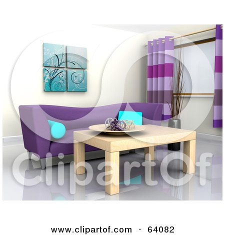Royalty-Free (RF) Clipart Illustration of a 3d Interior With A Purple Sofa And Light Wood Table by KJ Pargeter