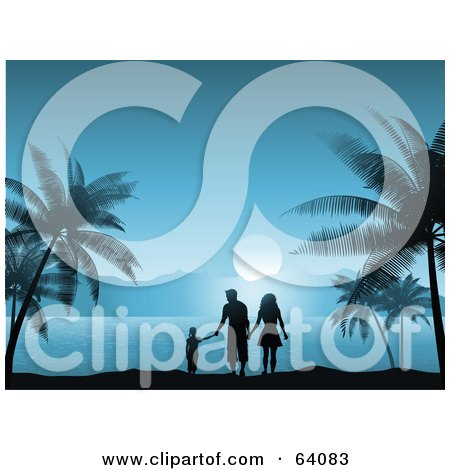 Royalty-Free (RF) Clipart Illustration of a Silhouetted Family Walking And Holding Hands On A Tropical Beach In The Blue Moon Light by KJ Pargeter