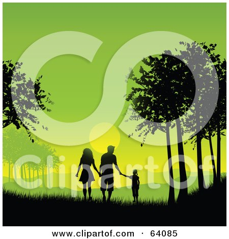 Royalty-Free (RF) Clipart Illustration of a Silhouetted Family Holding Hands And Walking Between Trees Against A Green Sunset by KJ Pargeter