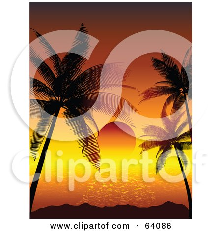 Royalty-Free (RF) Clipart Illustration of a Red Tropical Sun Setting Between Silhouetted Palm Trees On The Horizon by KJ Pargeter