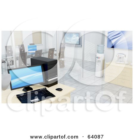Royalty-Free (RF) Clipart Illustration of a 3d Interior Of A Modern Office With A Computer, Coffee Station, Water Cooler And Meeting Room by KJ Pargeter