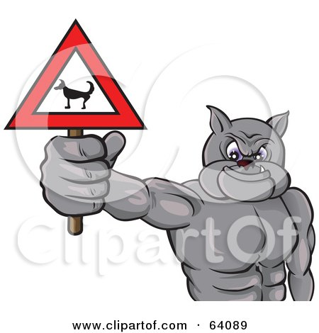 Royalty-Free (RF) Clipart Illustration of a Strong Bulldog Holding A Beware Dog Sign by Paulo Resende