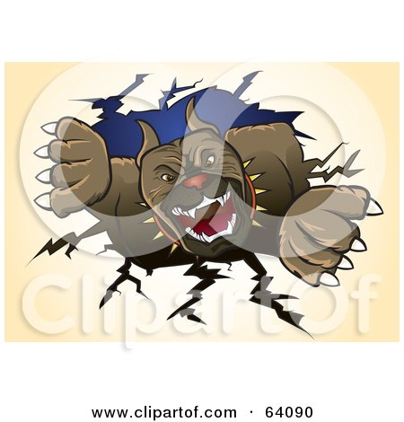 Royalty-Free (RF) Clipart Illustration of a Ferocious Pitbull Terrier Dog Ripping Through A Wall by Paulo Resende