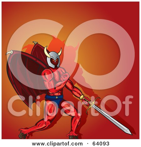 Royalty-Free (RF) Clipart Illustration of a Strong Devil Warrior With Wings And A Sword, Flexing by Paulo Resende
