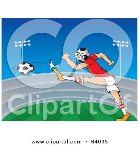 Royalty-Free (RF) Clipart Illustration of a Soccer Headed Athlete Kicking A Ball In A Field by Paulo Resende