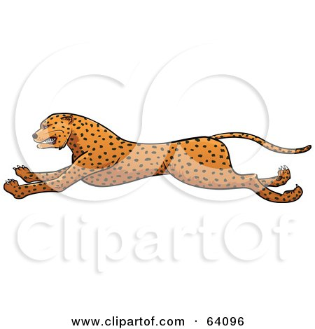 Royalty-Free (RF) Clipart Illustration of a Running Cheetah in Profile by Paulo Resende
