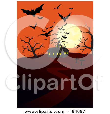 Royalty-Free (RF) Clipart Illustration of Silhouetted Bats And A Full Moon Over A Haunted House On An Orange Night by Paulo Resende
